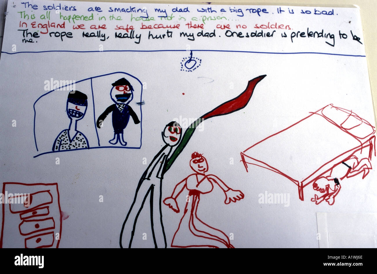 Drawing By A Refugee Child Showing The Violence Experienced Family Before They Fled
