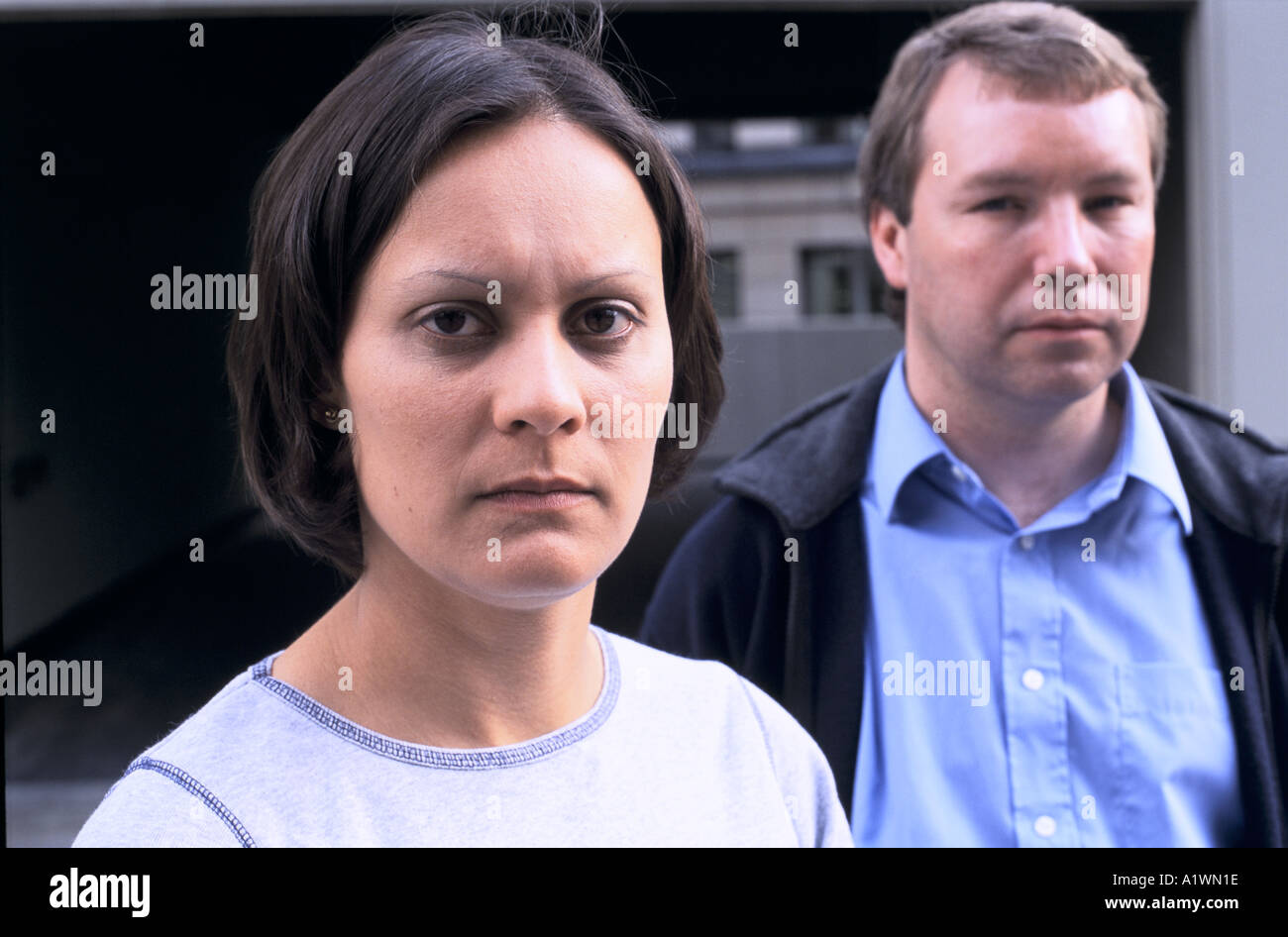 DAWN REED and CHRISTOPHER LILLIE. Nursery nurses who were awarded substantial damages after being wrongly accused of child abuse - Stock Image