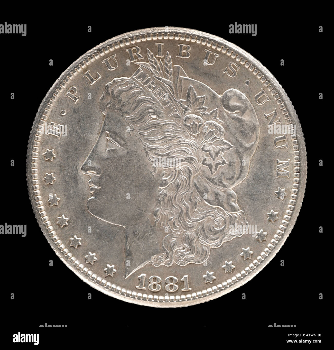 1881 Morgan Silver Dollar Head Left Us Usa America American United States 100 Cents One Hundred Decimal
