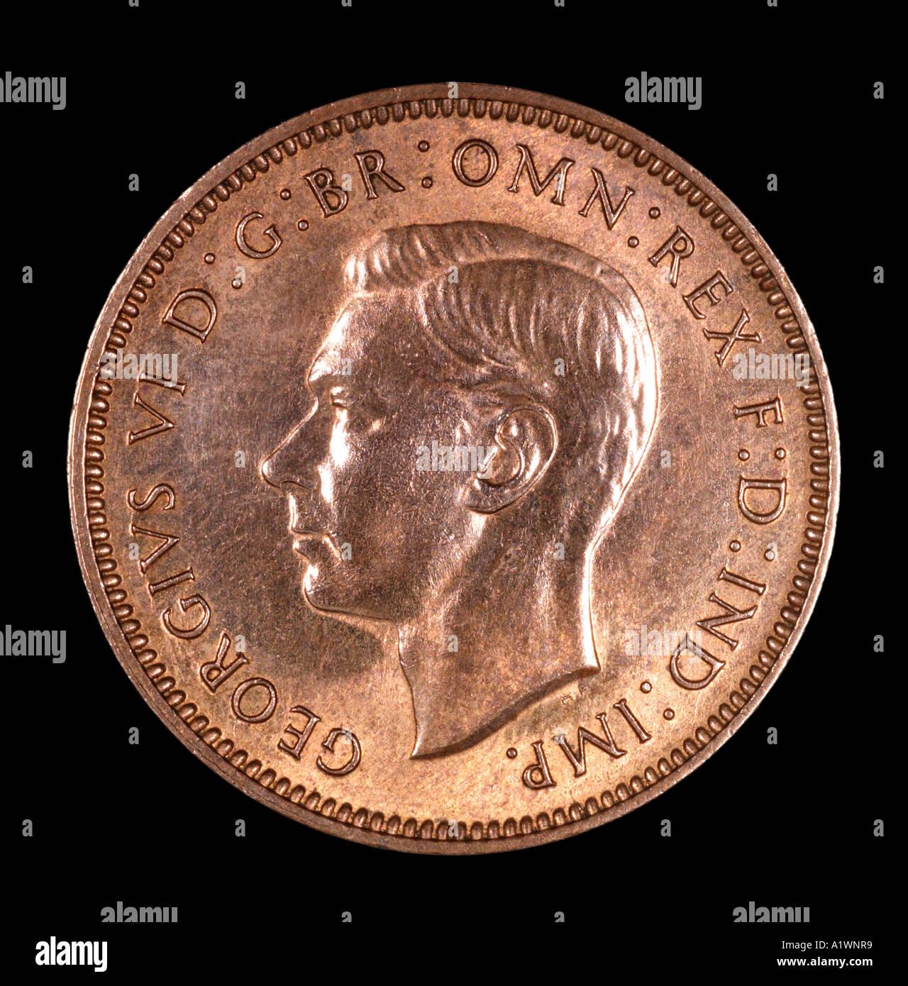 King George VI Reg fid def pre decimal quarter farthing penny old
