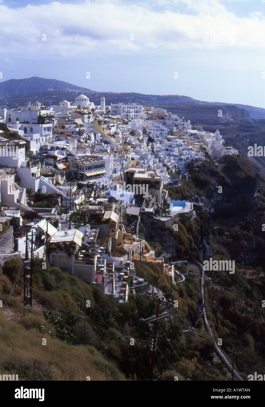 Thira the main town of Santorini, from above number 1959 - Stock Image