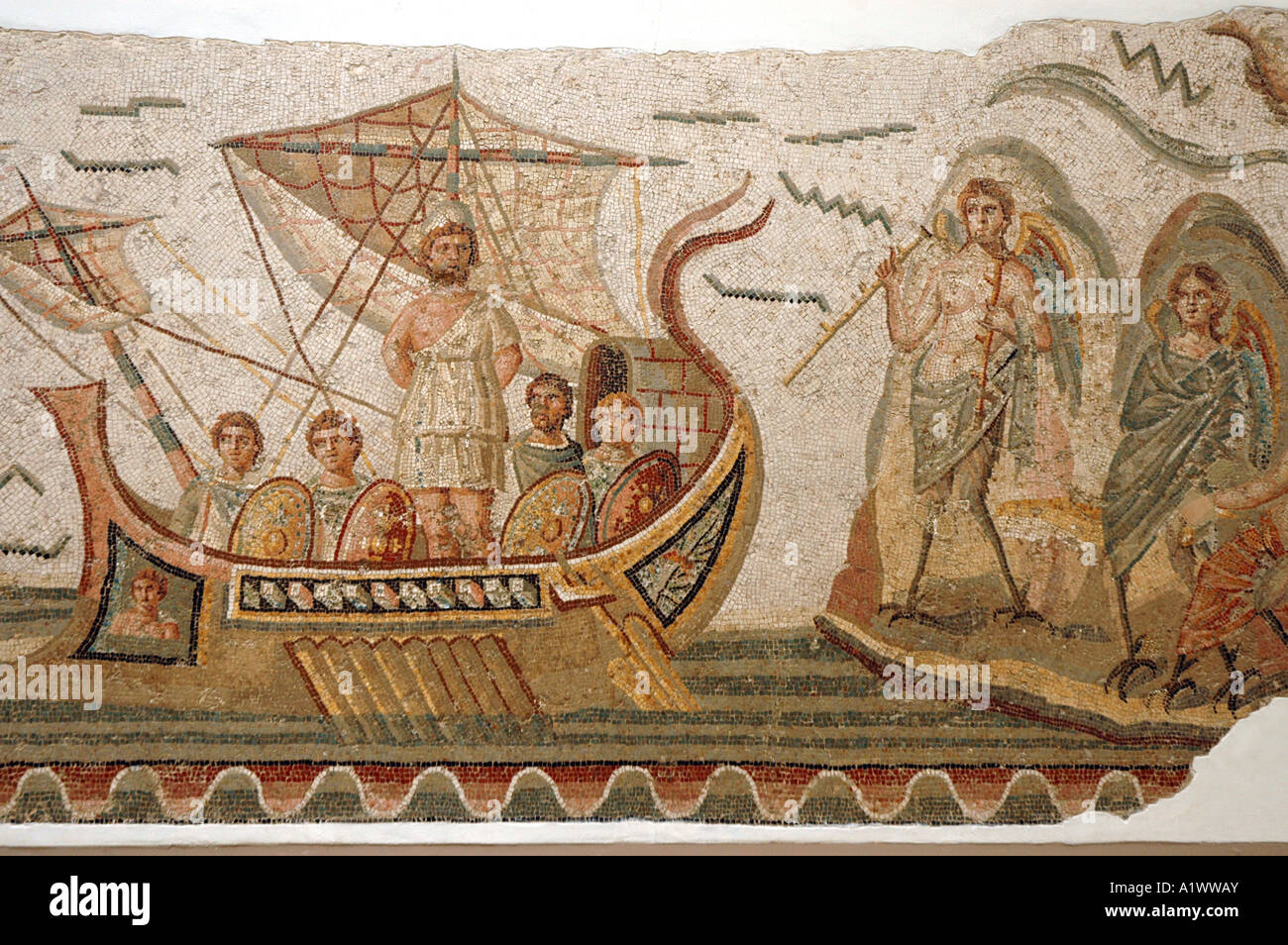 Mosaic scene from Homer's Odyssey, Ulysses meeting with sirens in The Bardo museum in Tunis, capital of Tunisia. - Stock Image