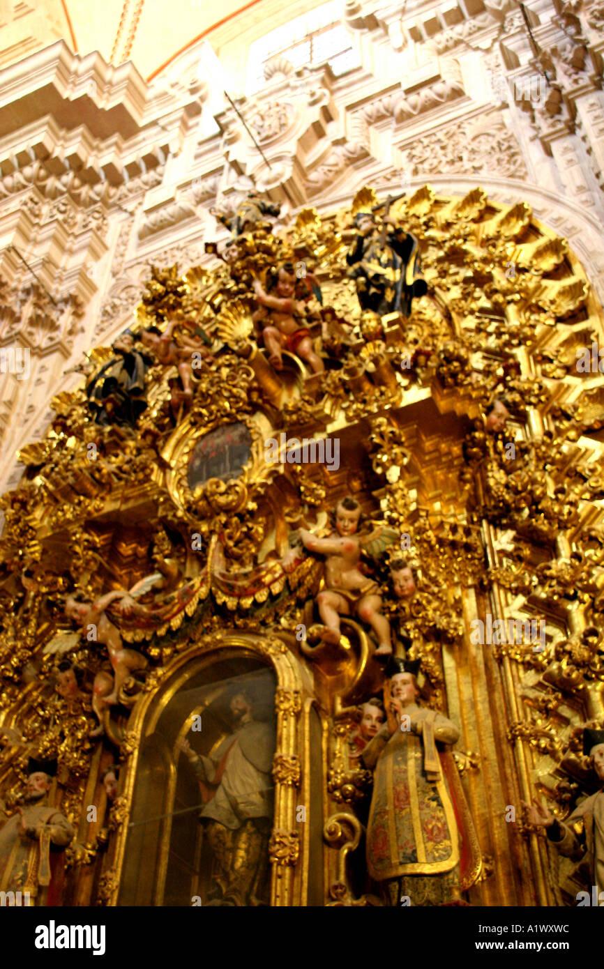 Gilt Alter, Santa Prisca, Taxco Mexico - Stock Image