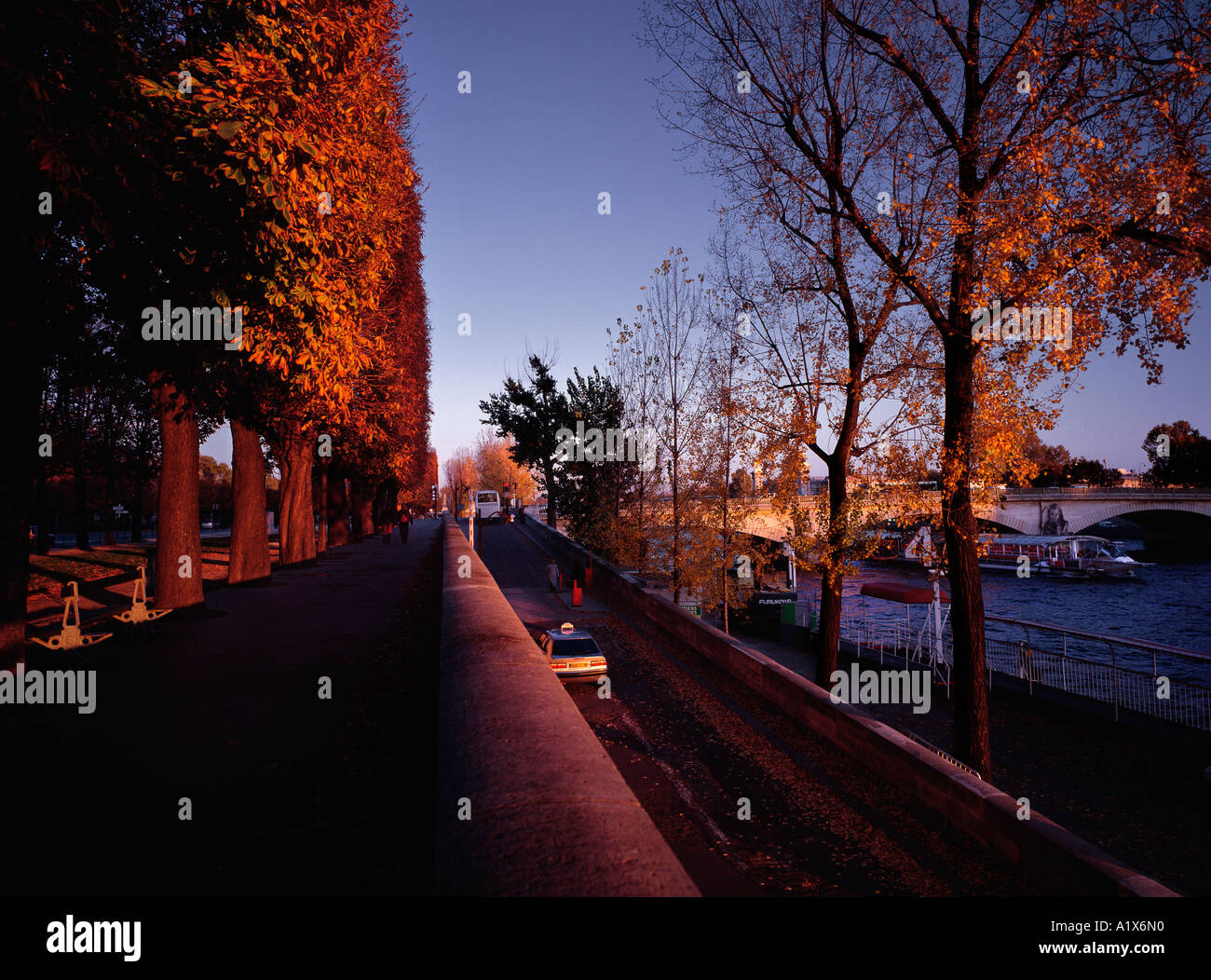 A beautiful late afternoon in autumn, Seine river, Paris, France. - Stock Image