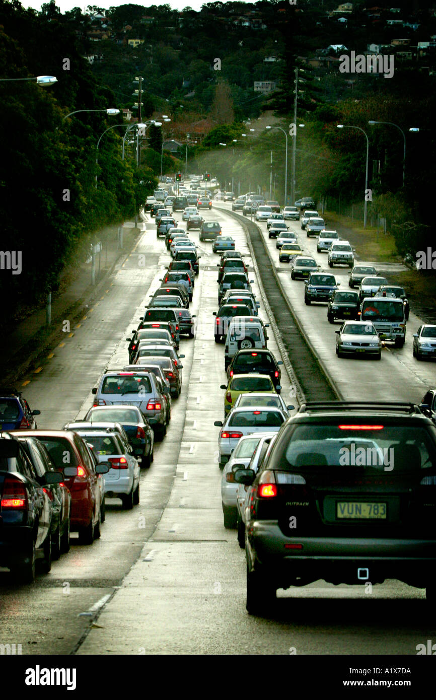 A queue of  Traffic on a wet day - Stock Image