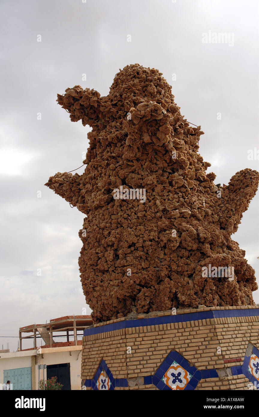 Desert rose monument in Tozeur city in central Tunisia - Stock Image