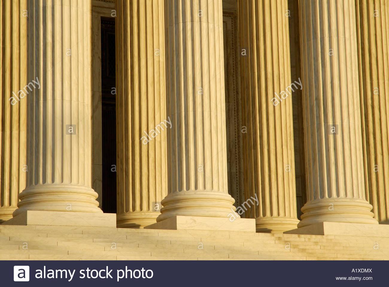 United States U.S. supreme court building exterior pillars - Stock Image