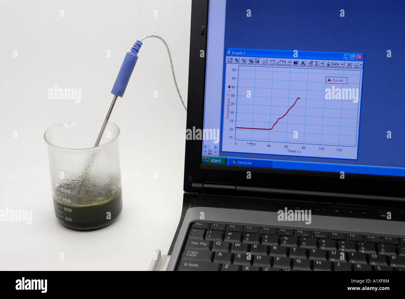 Digital sensor measuring heat release in exothermic exergonic chemical reaction - Stock Image