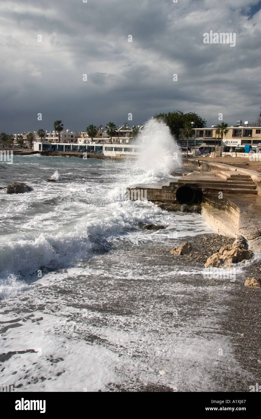 Winter storm in Paphos, Cyprus Stock Photo