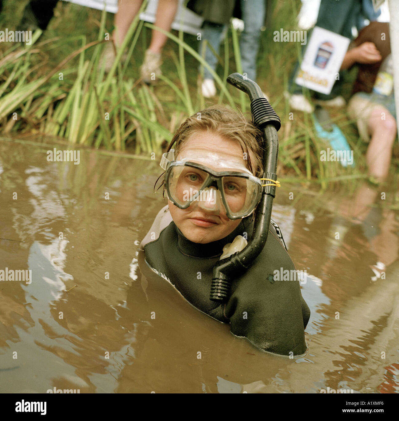 World bog snorkelling championships Llanwrtyd Well Mid Wales 2001 - Stock Image