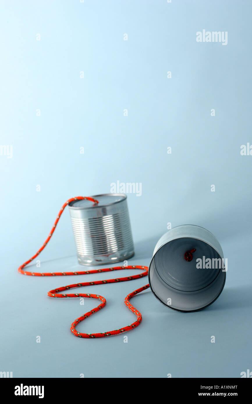 a self made telephone - Stock Image
