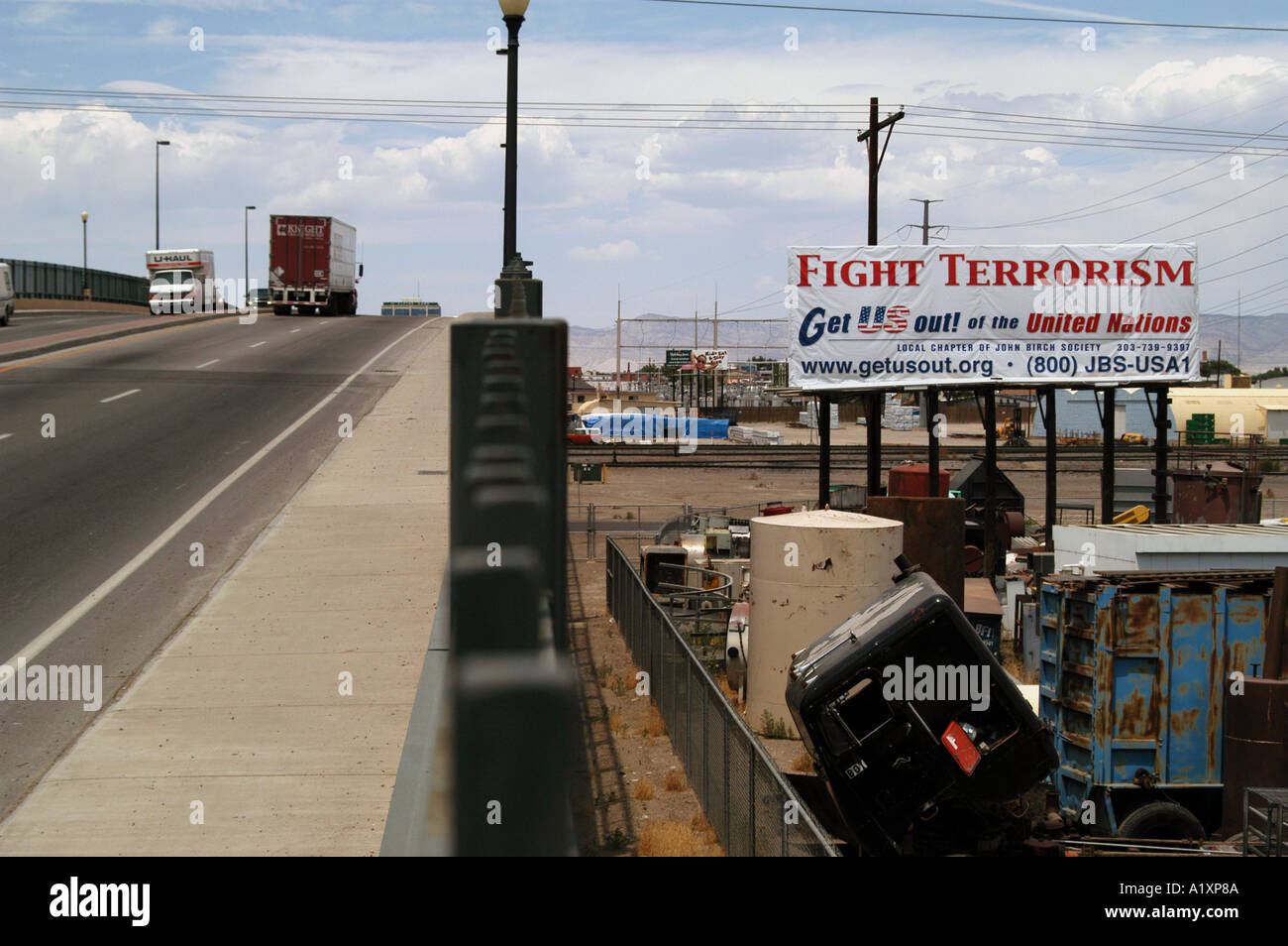 Political poster on Hwy 50  Grand Junction, Colorado USA Stock Photo