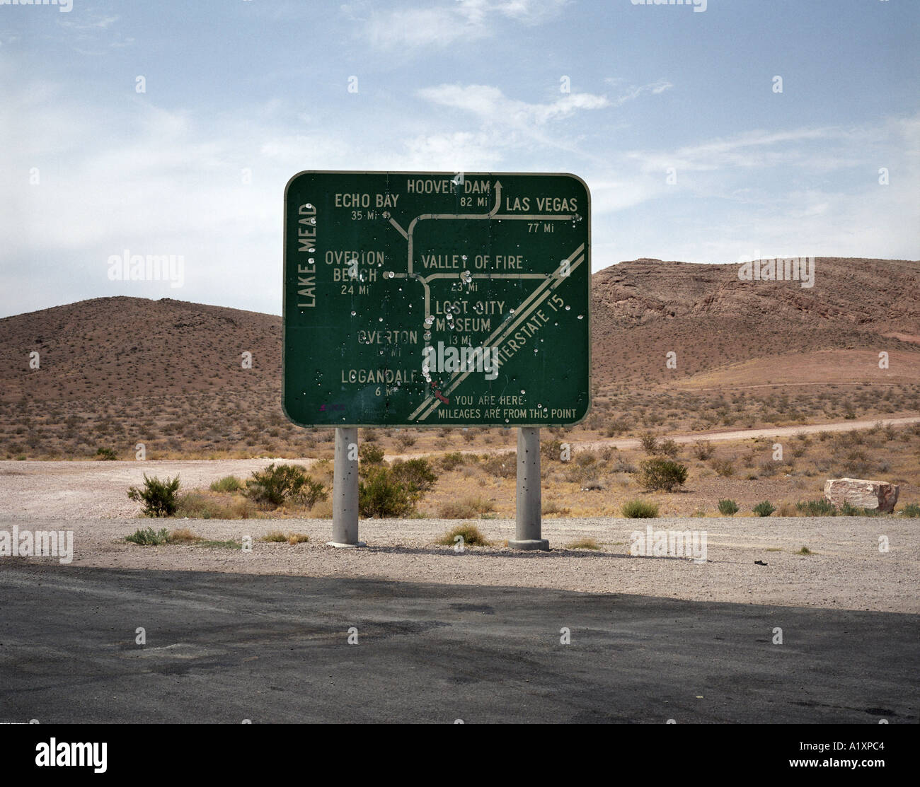 A Signpost Showing The Way To Areas Around Lake Mead And Interstate 15 Is Heavily Marked