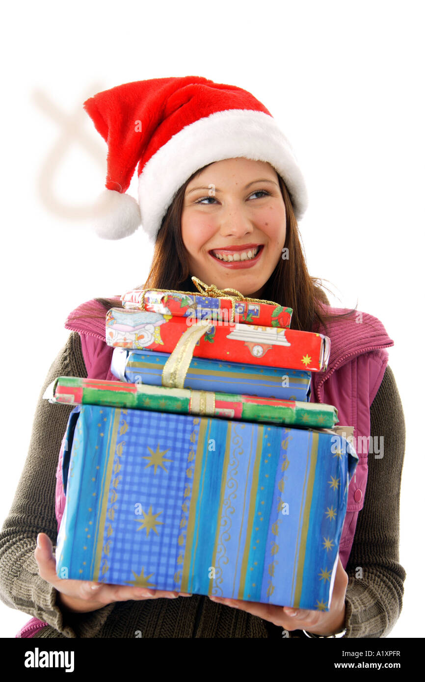 woman with christmas presents - Stock Image