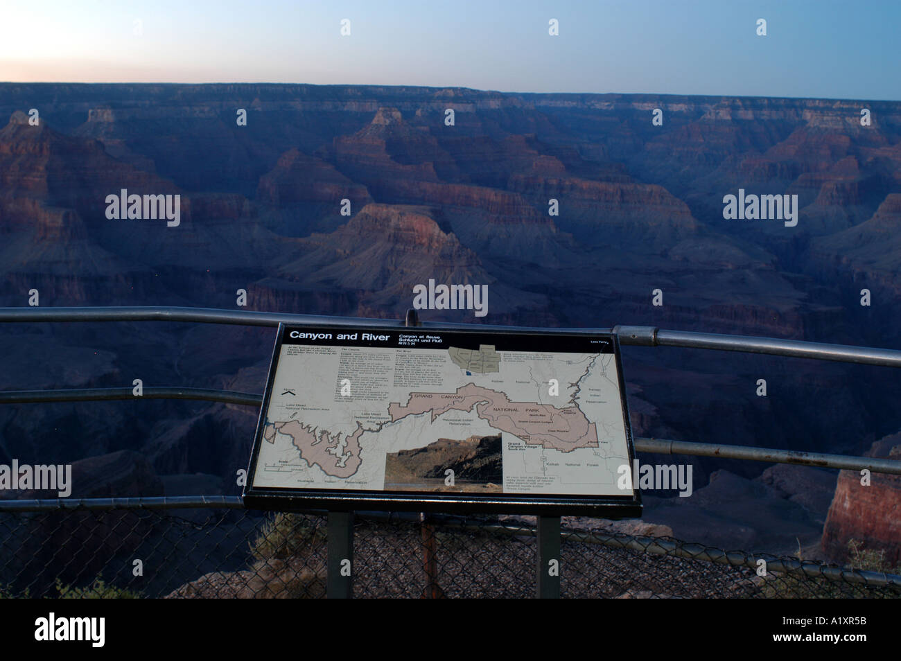 Information sign and map of the Grand Canyon and Colorado River ...