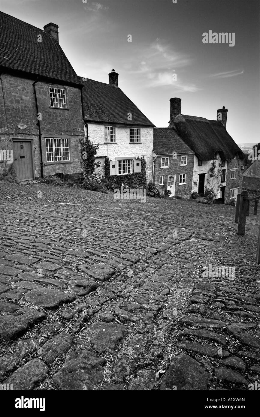 Ancient cottages lead down cobbled Gold Hill, Shaftesbury, Dorset - Stock Image