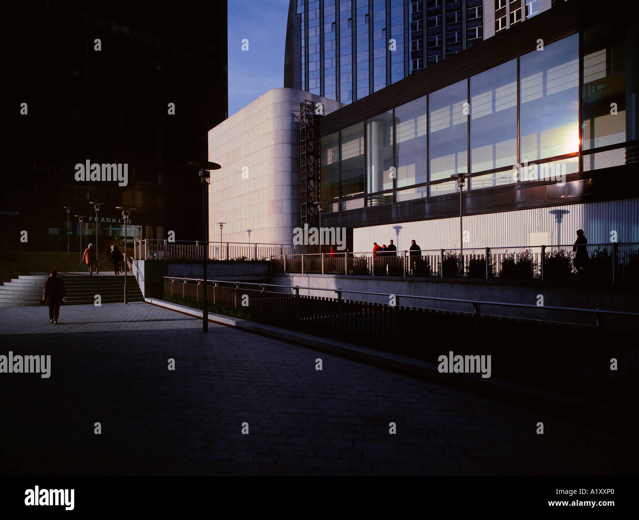 Dawn at 'La Defense', Paris, France. High-end scan of 6x7cm transparency. - Stock Image