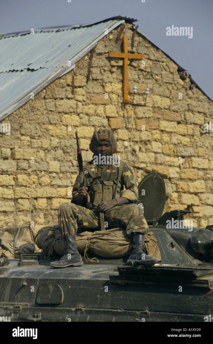 ANGOLA CIVIL WAR 1993 GOVT SOLDIER - Stock Image