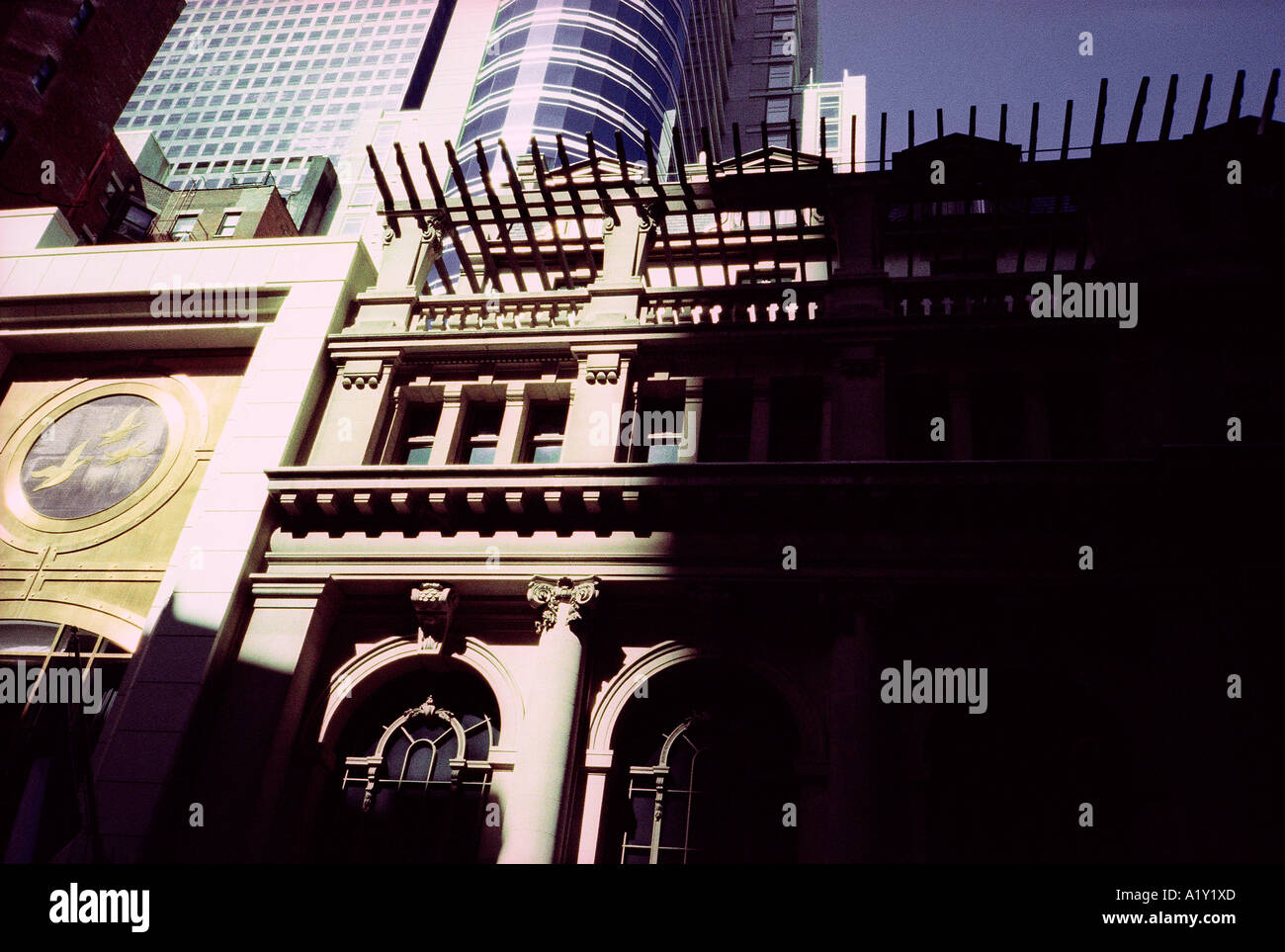 'City-snaps', New York City, US. Atmospheric 35mm snap image with considerable visible film-grain. - Stock Image