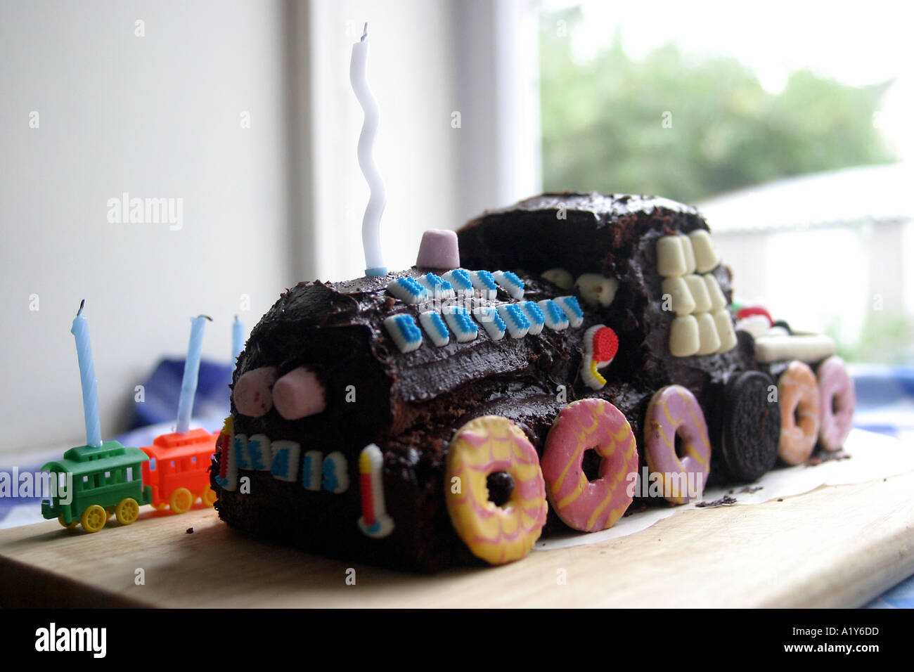 Superb Three Year Old Birthday Train Cake Stock Photo 1930972 Alamy Funny Birthday Cards Online Inifodamsfinfo