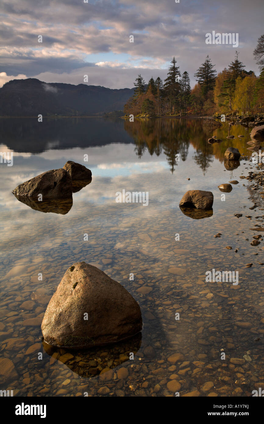 Early morning sunlight lights up the lakeside at Derwent Water, Lake District, England - Stock Image
