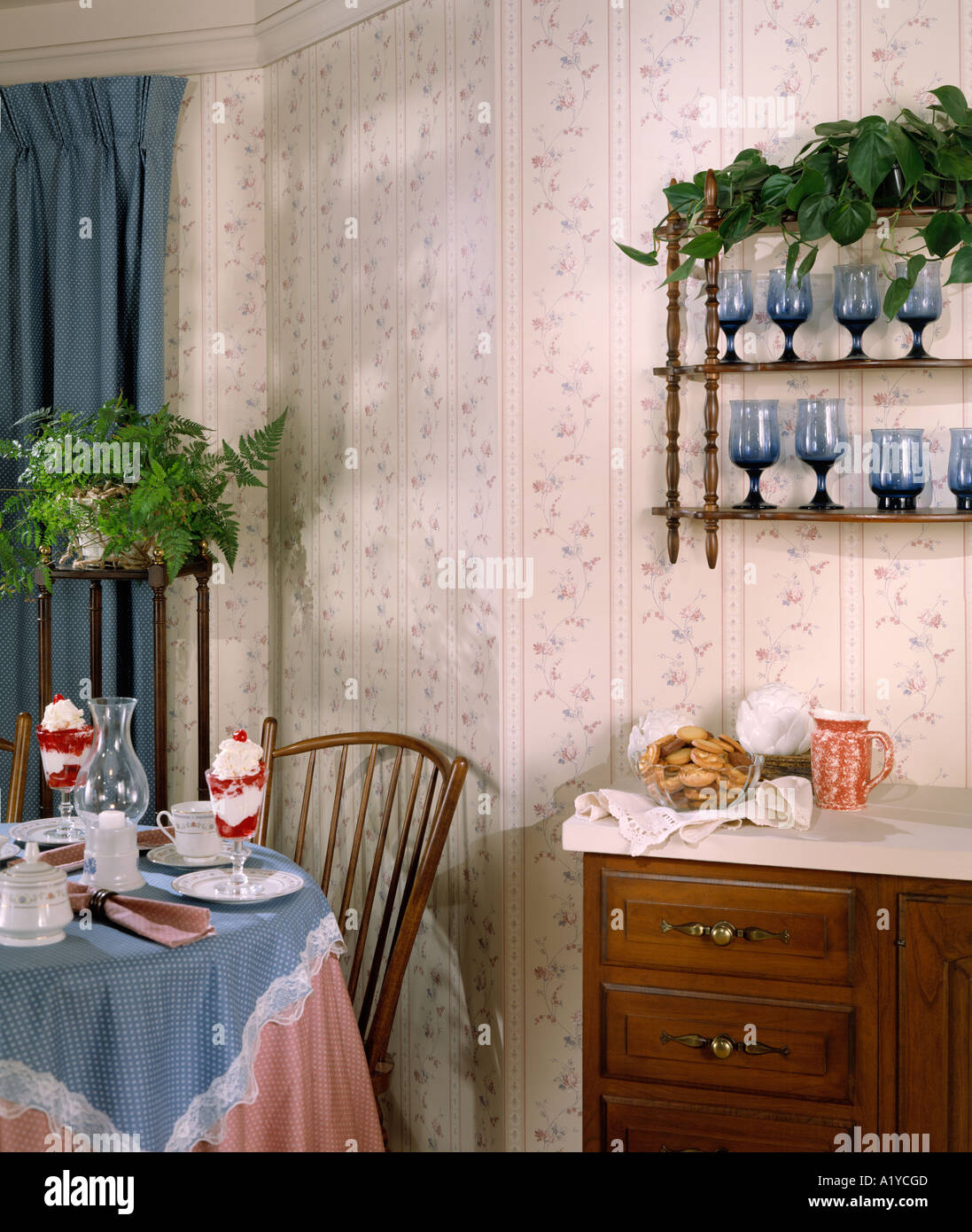 dining kitchen corner table set for two food drink curtains ...