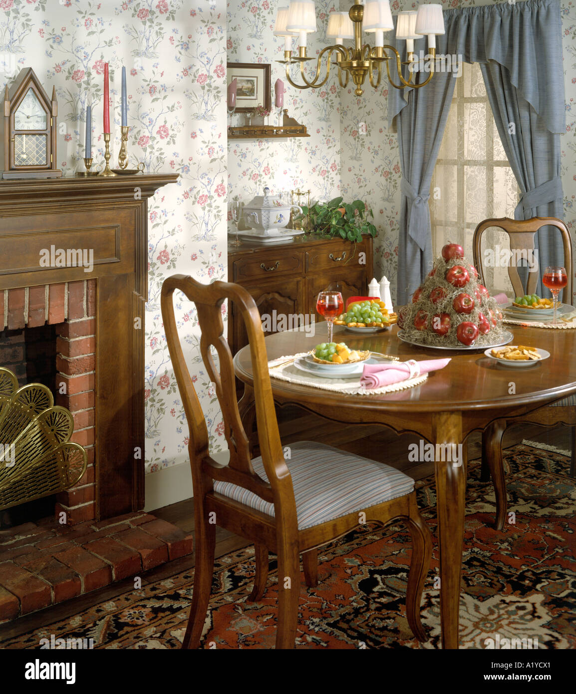 Formal Dining Room Fireplace Mantle Candles Drapes Soup Tureen Food Drink Oriental Rug