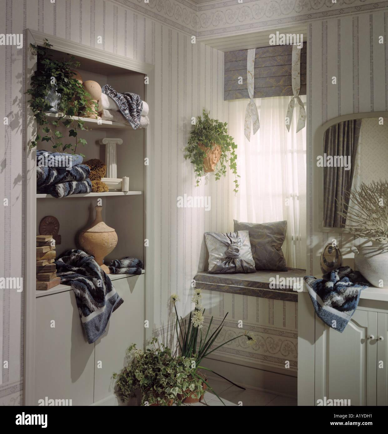 Bedroom Sitting Window Alcove Dresser Mirror Shelf Shelving Pottery