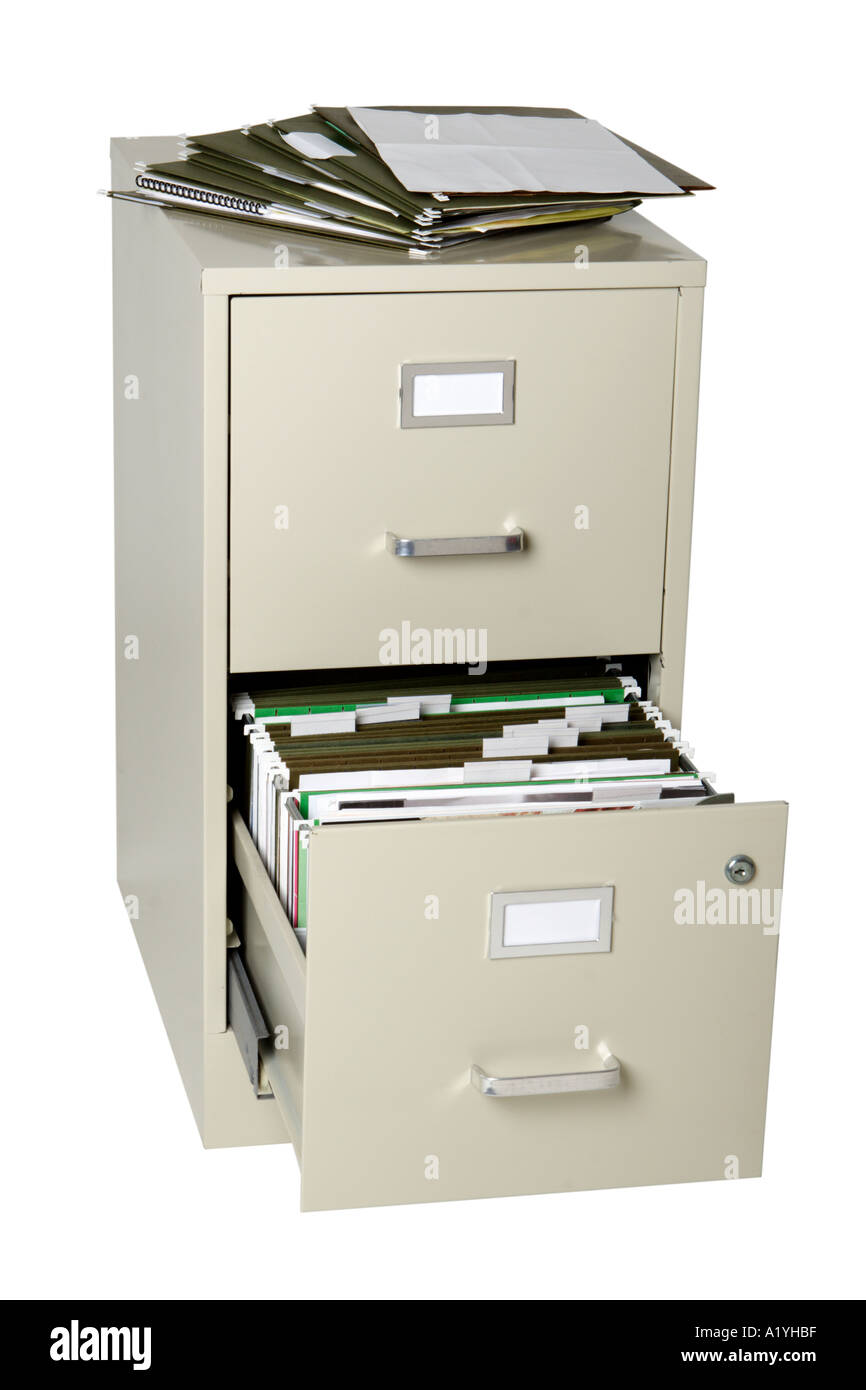 File cabinet with open drawer and files on top - Stock Image