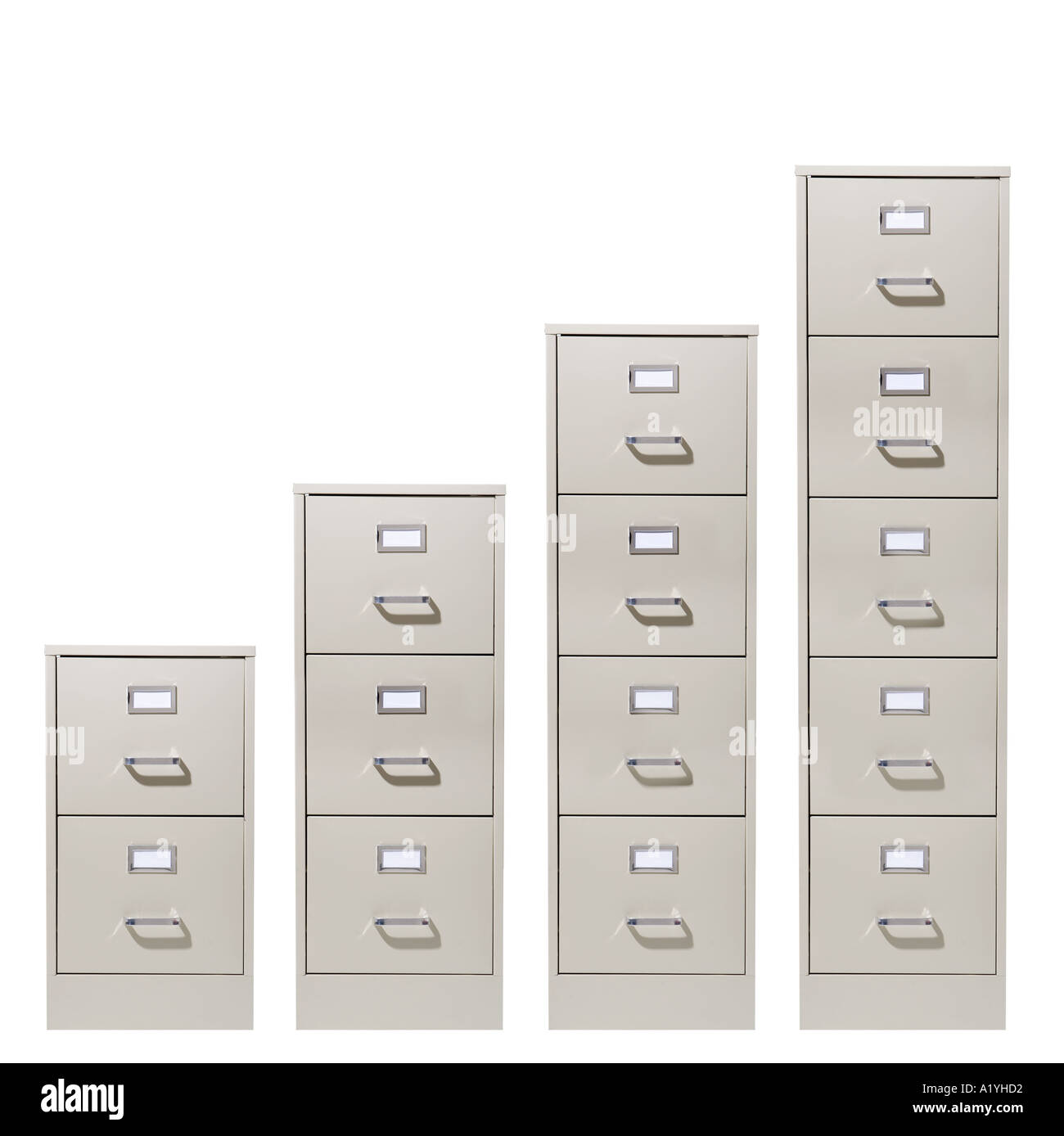 Various sizes of file cabinets Stock Photo