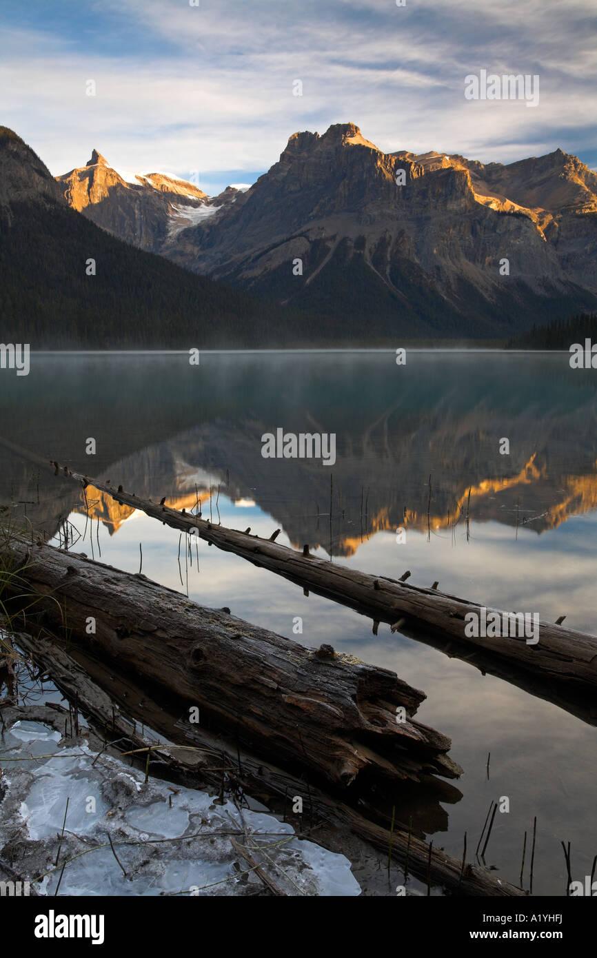 Sunrise at Emerald Lake in Yoho National Park, Canada Stock Photo