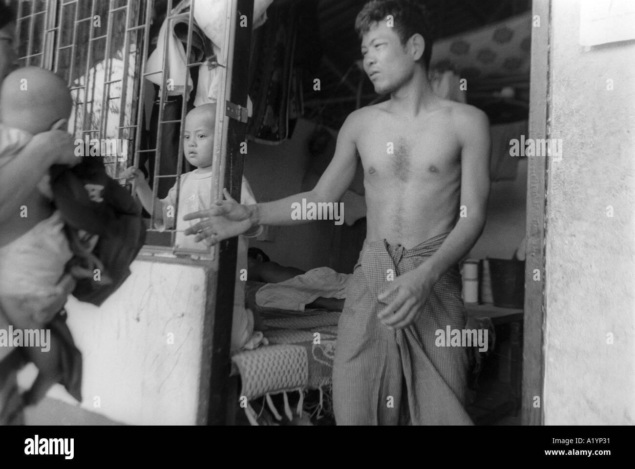 Karen refugee family Mae Sot Thailand - Stock Image