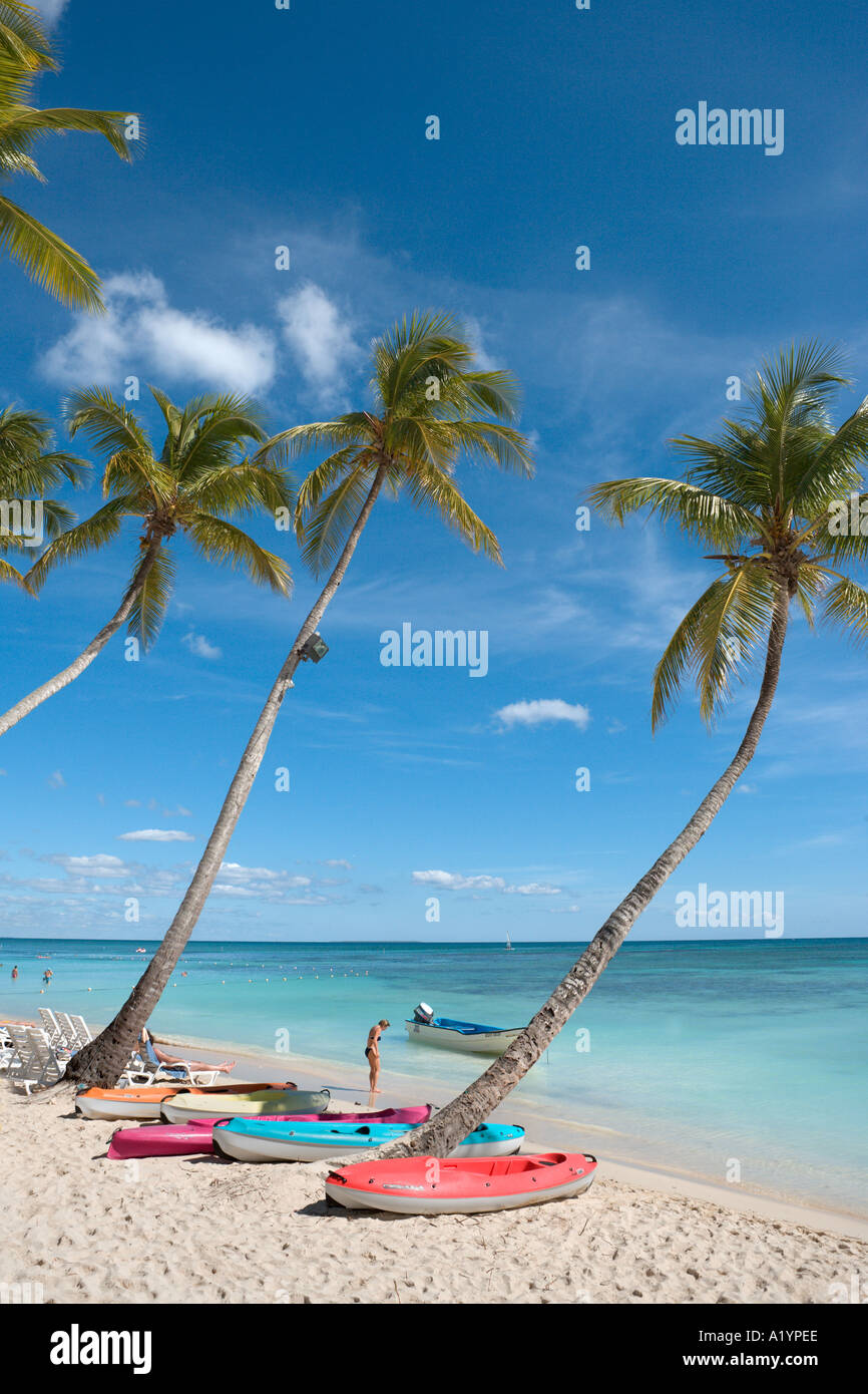 Beach at Bayahibe, South Coast, Dominican Republic, Caribbean - Stock Image