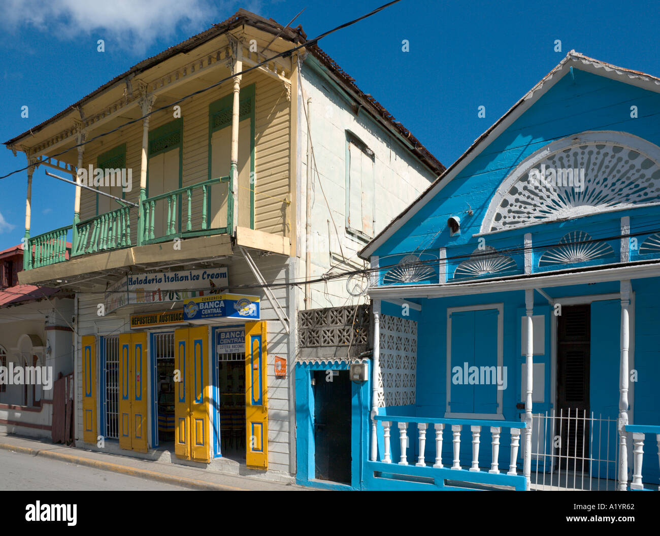 Typical local houses in the old town, Puerto Plata, North Coast, Dominican Republic, Caribbean - Stock Image