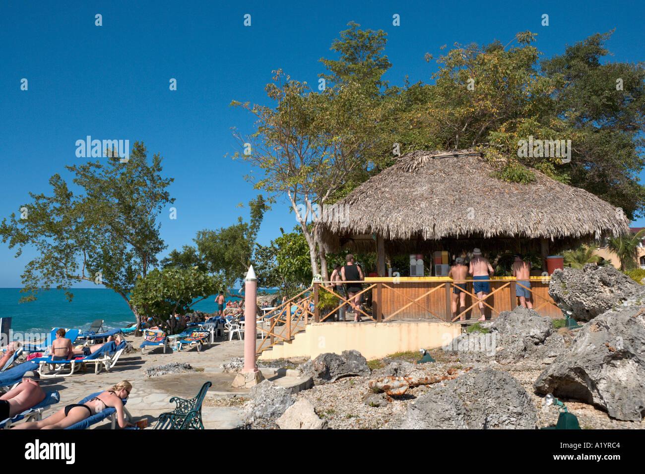 Beach Bar, Casa Marina Reef Hotel, Sosua, Puerto Plata, North Coast, Dominican Republic Stock Photo