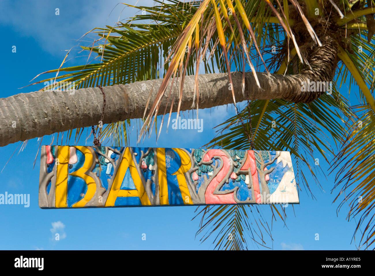 Sign for Beach Bar, Genipabu, Natal, Rio Grande do Norte, Brazil - Stock Image