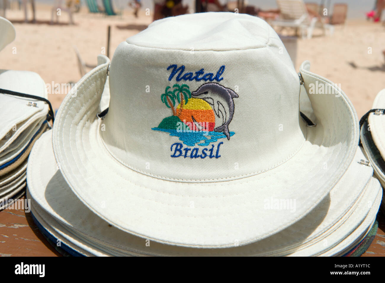 Hats for sale, Ponta Negra, Natal, Rio Grande do Norte, Brazil - Stock Image