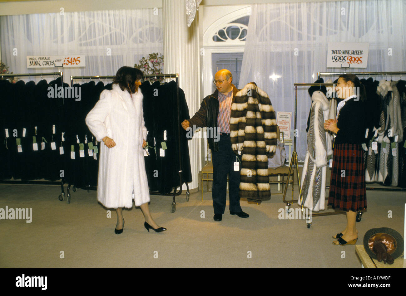 low price sale shop great prices FUR COATS ON SALE AT HARRODS JANUARY 1986 Stock Photo: 3382750 - Alamy