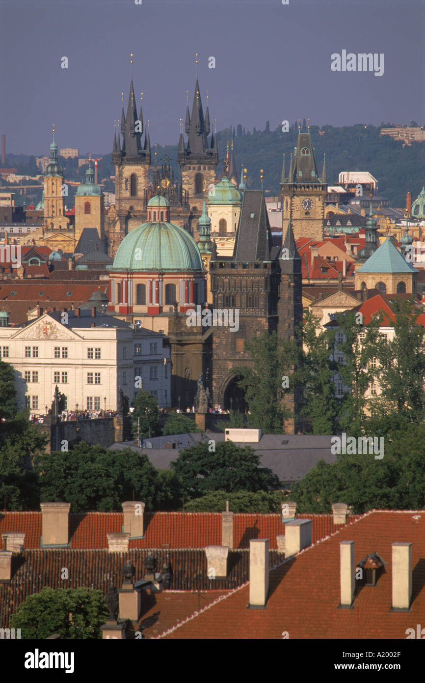 Skyline of the Stare Mesto district including Tyn Church Charles Bridge and Town Hall in the city of Prague Czech Republic G - Stock Image