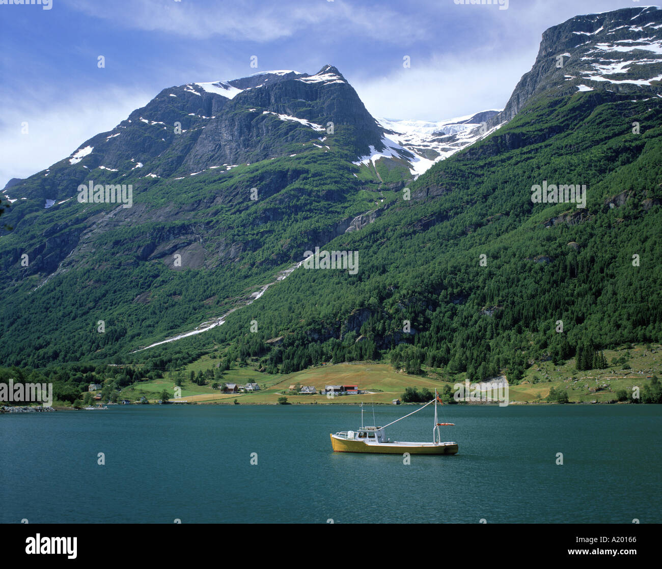 Fishing boat on Olden Lake Sogn and Fjordane Norway G R Richardson - Stock Image