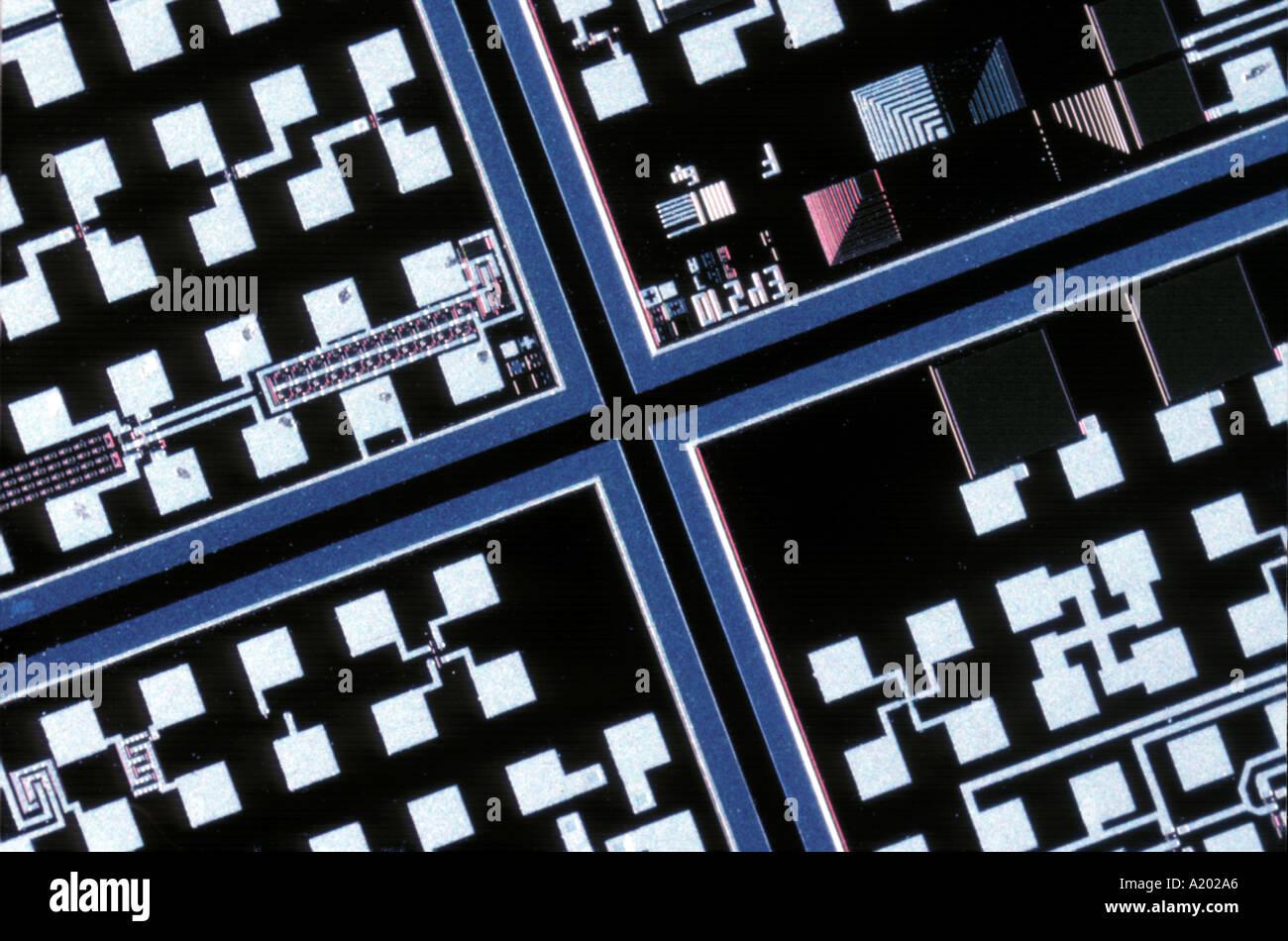 part of printed circuit board close up - Stock Image