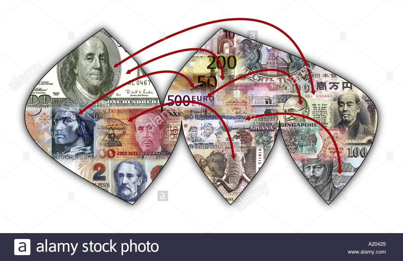 Paths of direction of finance in the world - Stock Image