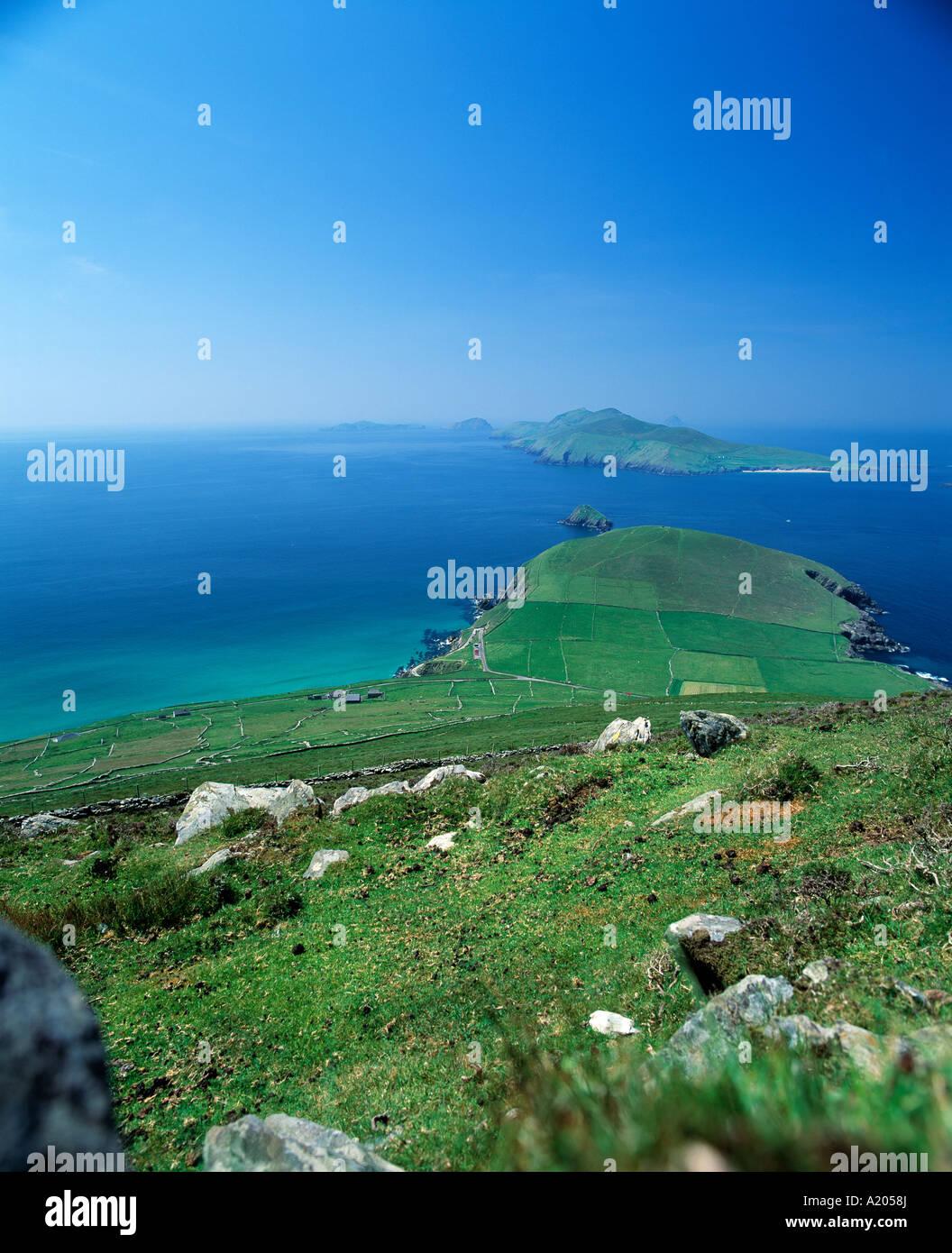 ireland, county kerry, dingle peninsula, slea dunmore head,  blasket islands in background, wild atlantic way - Stock Image