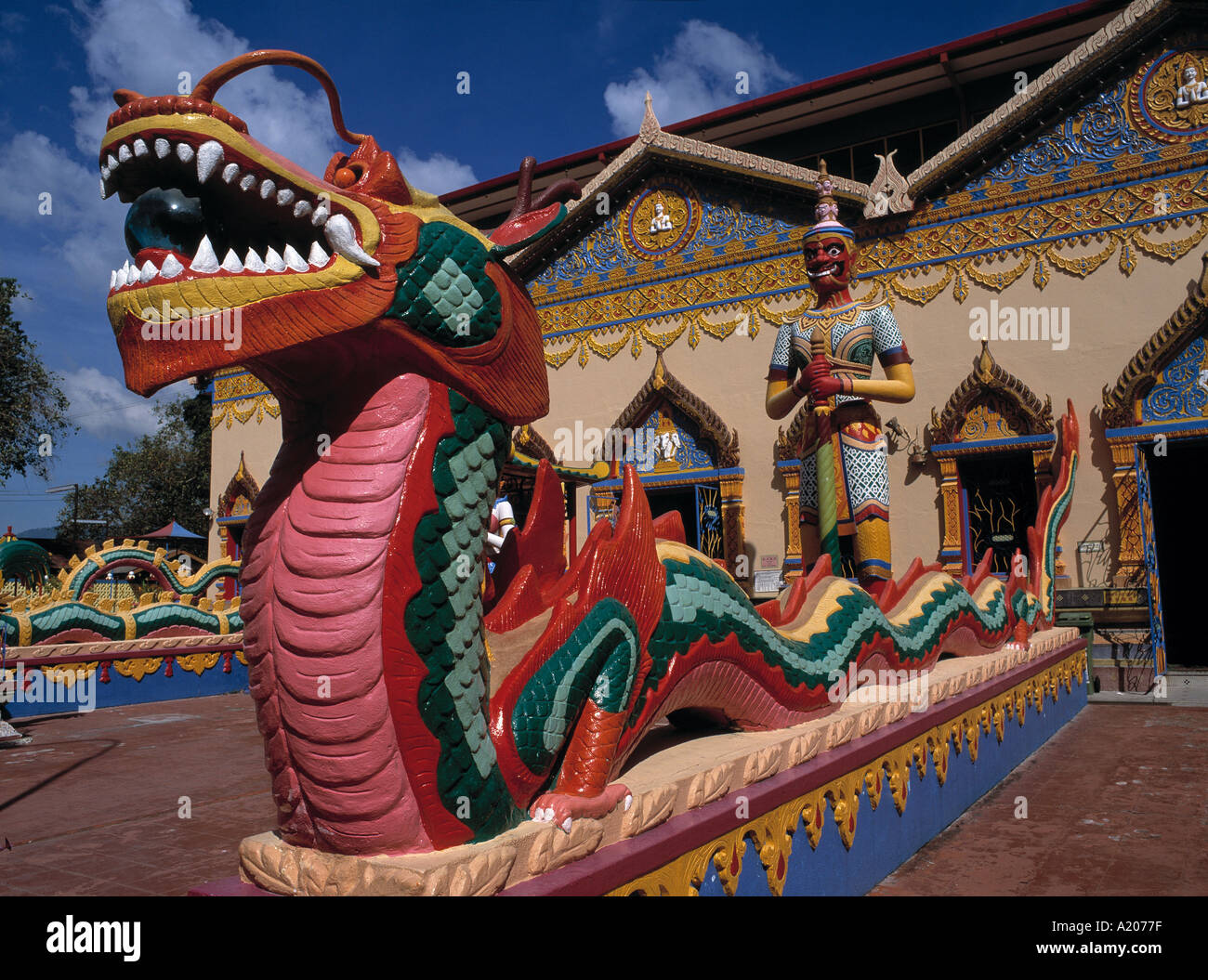 Thai Temple and snake decoration Georgetown - Stock Image