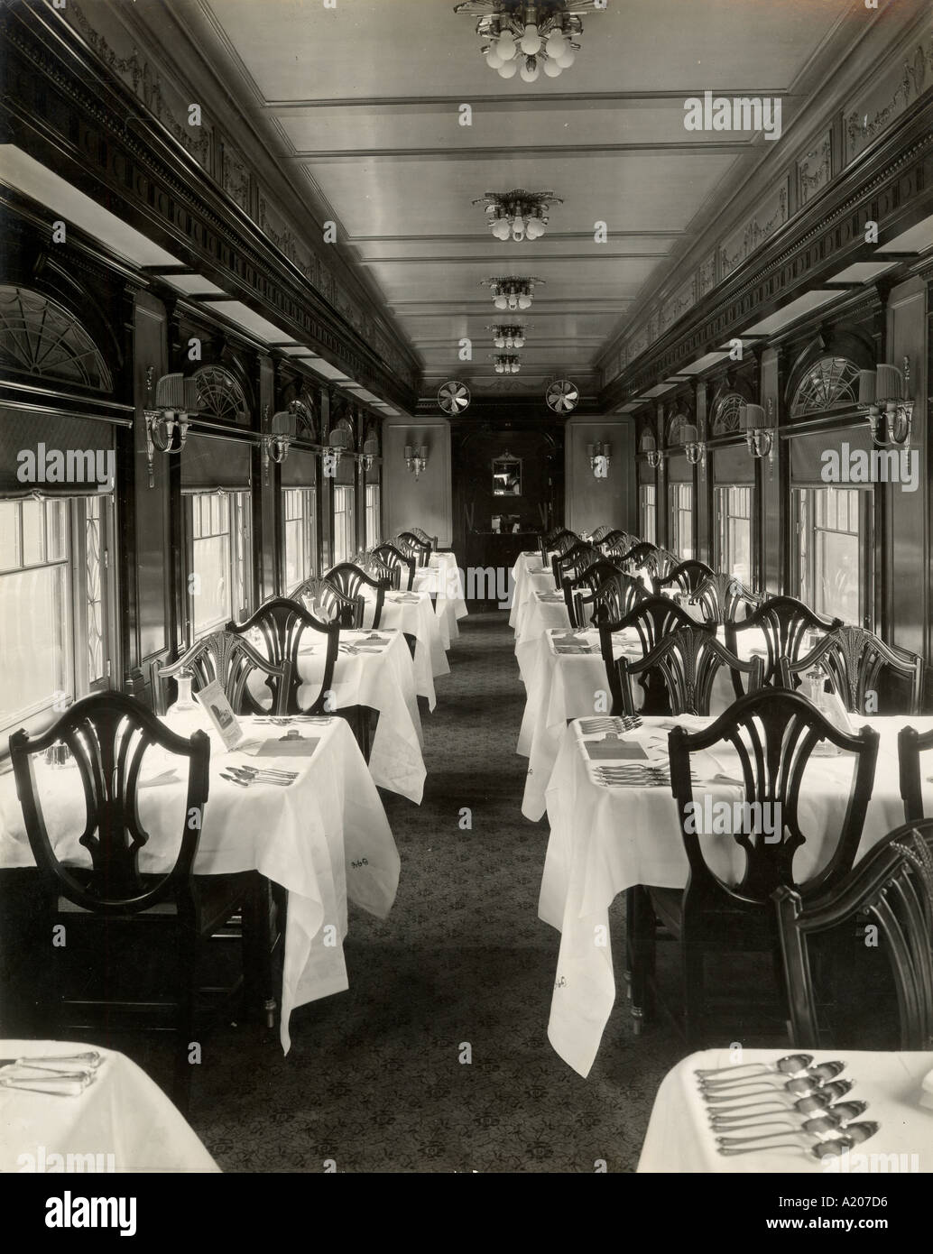 Colonial dining bar Mt Vernon on Baltimore Ohio Railroad in service between New York and Washington D C - Stock Image