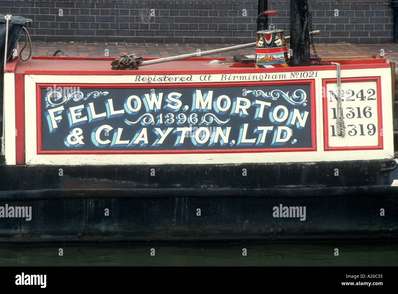 1898 Fellows Morton and Clayton butty Northwich main cabin National Waterways Museum Gloucester Gloucestershire England UK - Stock Image