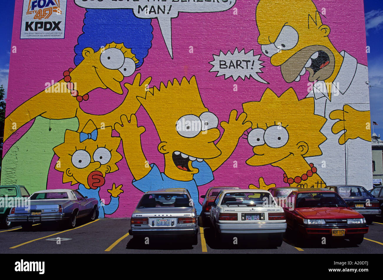 The wall painting in Portland U.S.A. North America Stock Photo ...