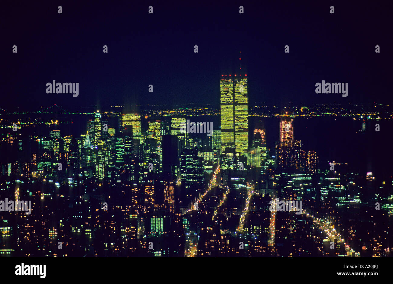 The night view of World Trade Center in New York U.S.A. North America Stock Photo