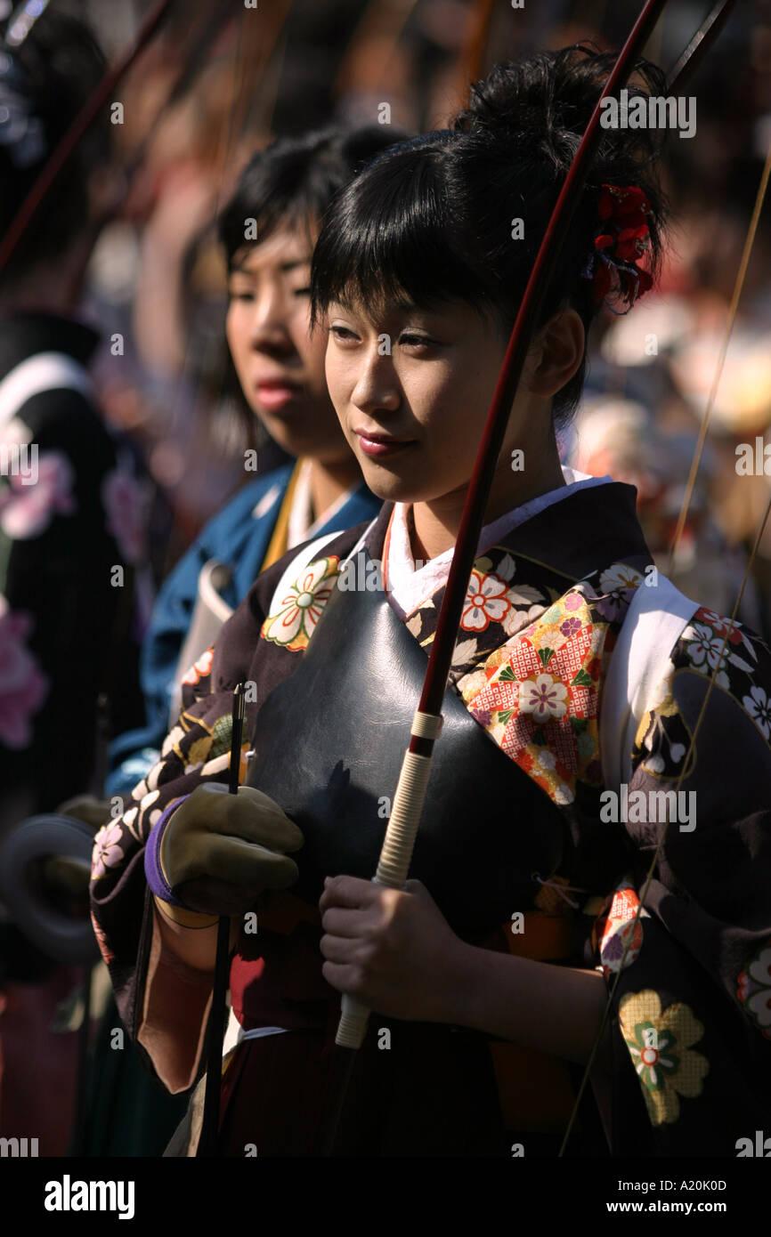 Toshi ya Matsuri archery festival, Sanjusangen-do Buddhist temple, Kyoto, Japan - Stock Image