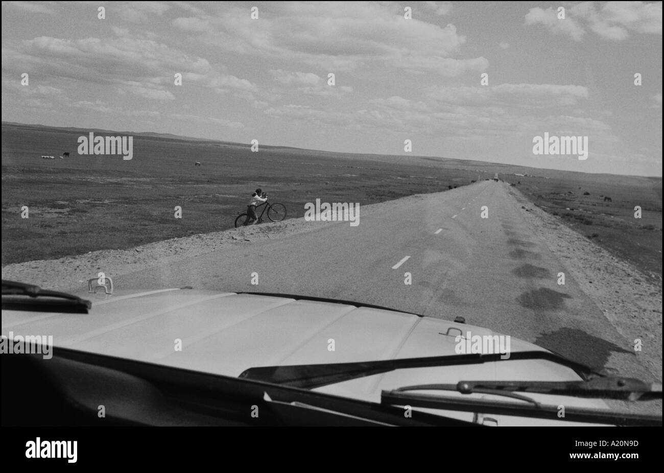 On the road in Ovorkhangai district, steppes, Mongolia - Stock Image